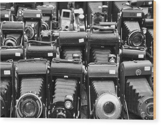 Old Cameras Wood Print