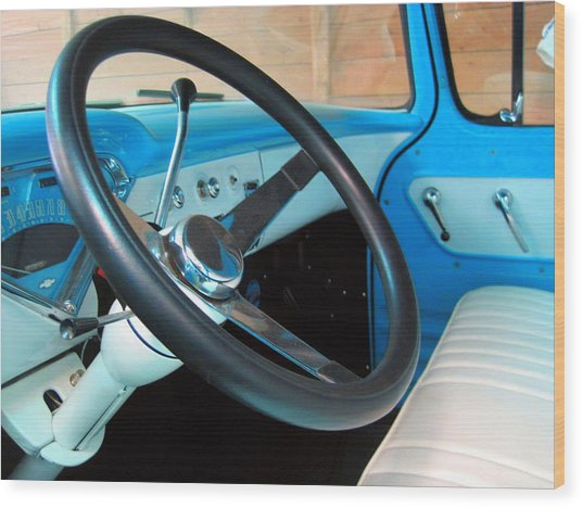 Old Chevy Steering Wheel Wood Print