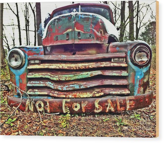 Wood Print featuring the photograph Old Chevy Truck With Graffiti by T Lowry Wilson