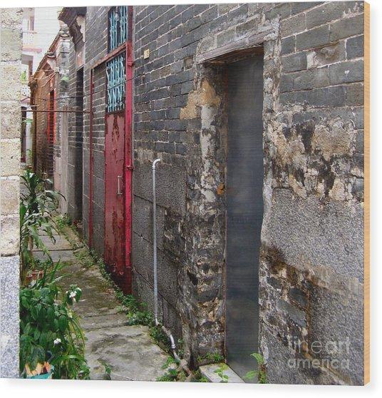 Old Chinese Village Narrow Walkway Wood Print by Kathy Daxon