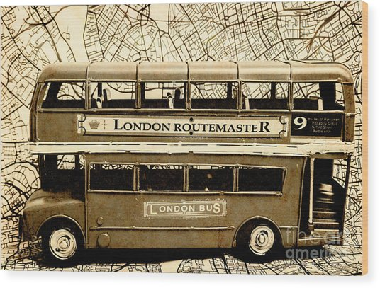 Old City Bus Tour Wood Print