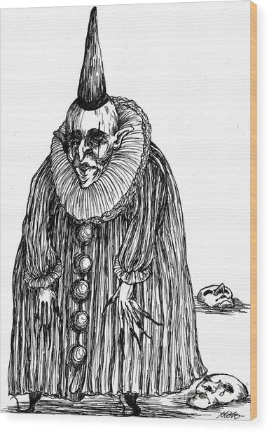 Old Clown Wood Print