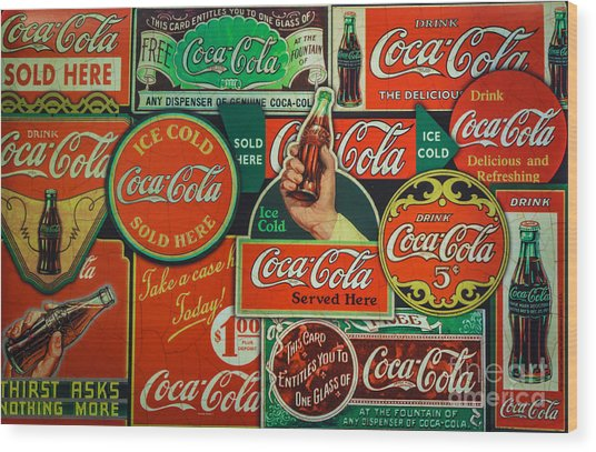 Old Coca-cola Sign Collage Wood Print