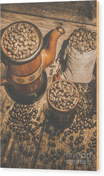 Old Coffee Brew House Beans Wood Print