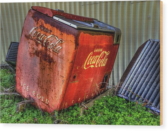 Old Coke Box Wood Print