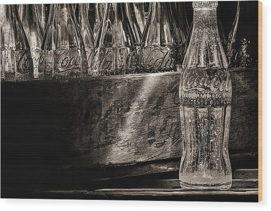 Old Coke Sepia Wood Print by JC Findley
