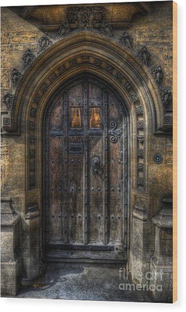 Old College Door - Oxford Wood Print