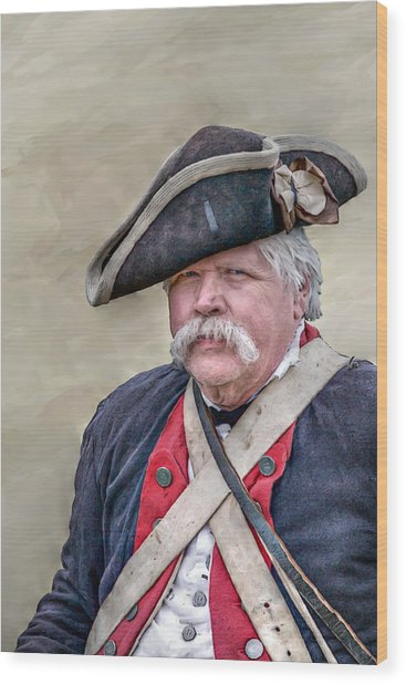 Old Colonial Soldier Portrait Wood Print by Randy Steele