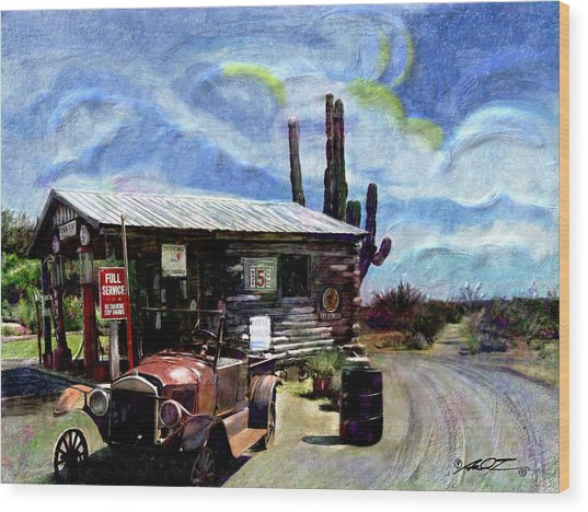 Old Desert Gas Station Wood Print