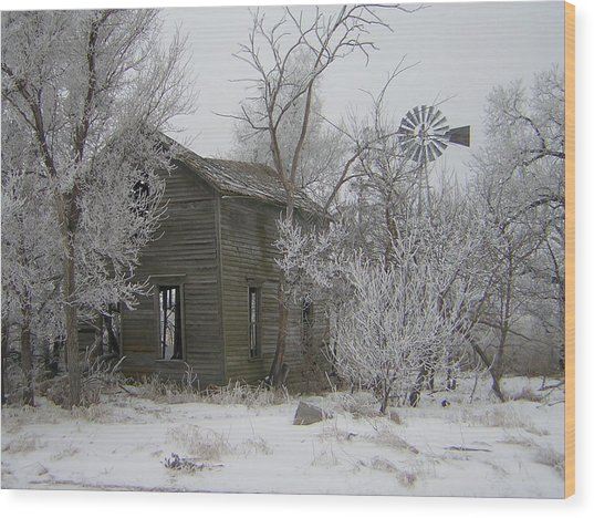 Old Deserted Farmstead Wood Print by Deena Keller