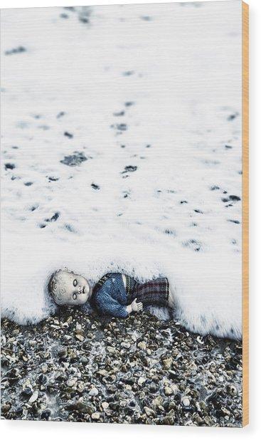 Old Doll On The Beach Wood Print