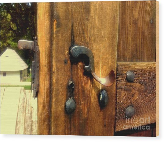 Old Door Handle Wood Print