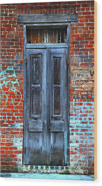 Old Door With Bricks Wood Print
