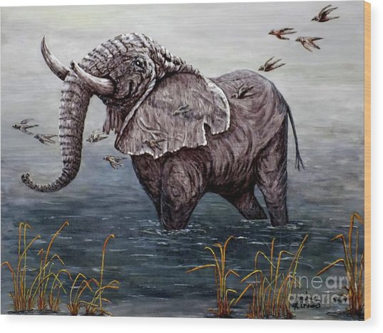 Old Elephant Wood Print