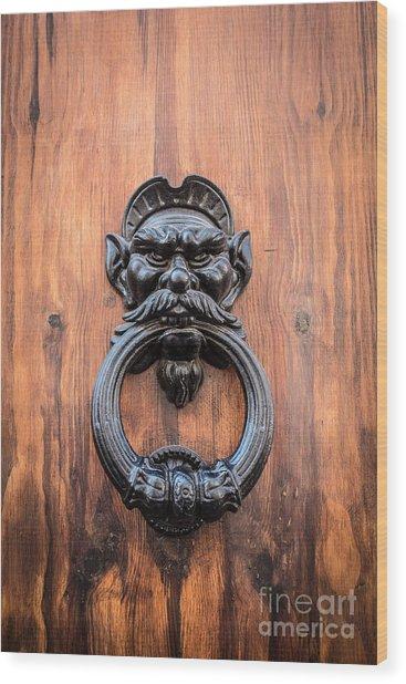 Old Face Door Knocker Wood Print