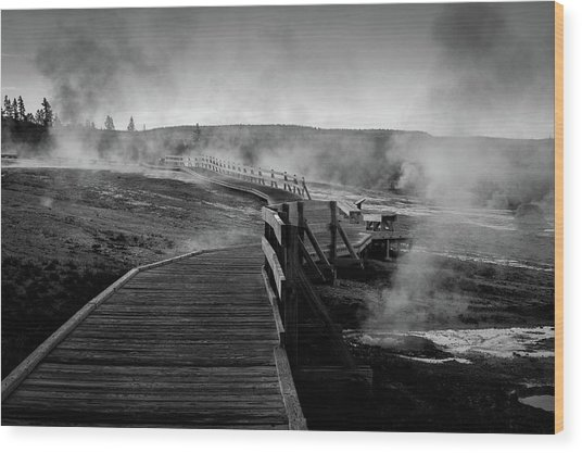 Old Faithful Boardwalk Wood Print