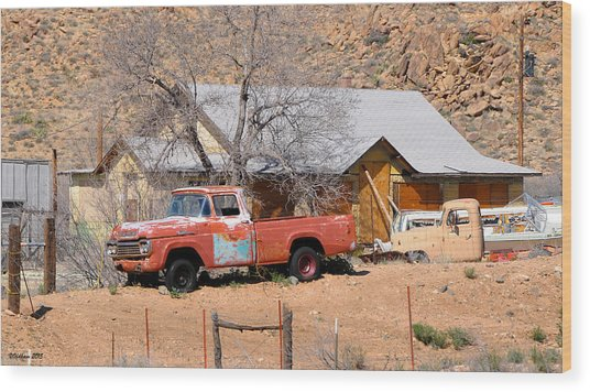 Old Farm Trucks Along Route 66 Wood Print