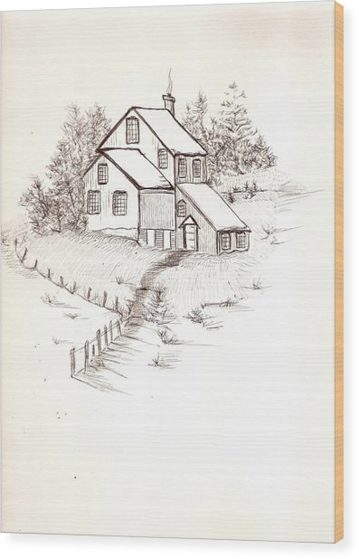 Old Farmhouse Wood Print by Barbara Cleveland