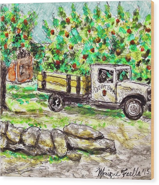 Old Farming Truck Wood Print