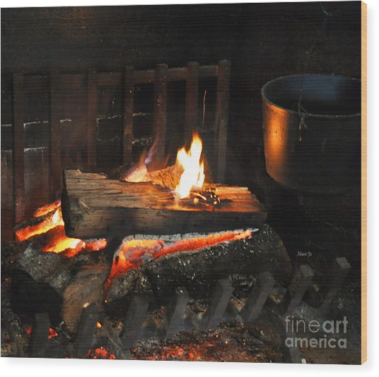 Old Fashioned Fireplace Wood Print