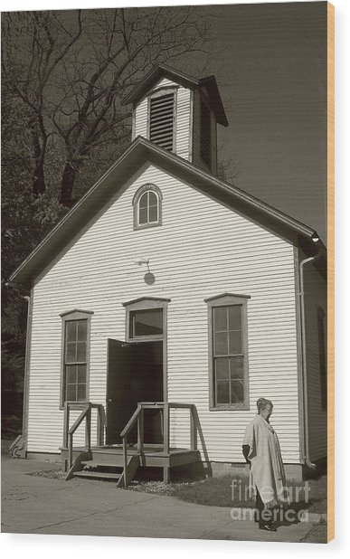 Old-fashioned School House Wood Print by Emily Kelley