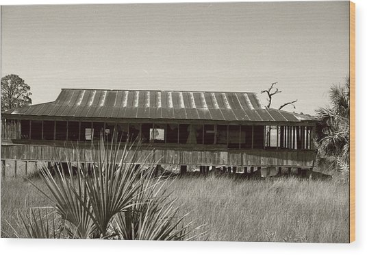 Old Florida Sepia Wood Print by Michael Morrison