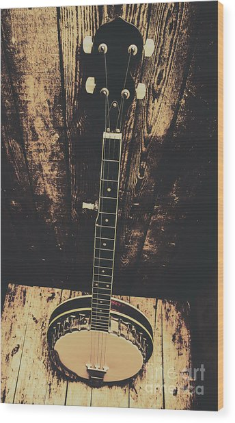 Old Folk Music Banjo Wood Print