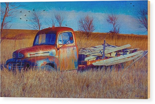 Old Ford F5 Truck Abandoned In Field Wood Print