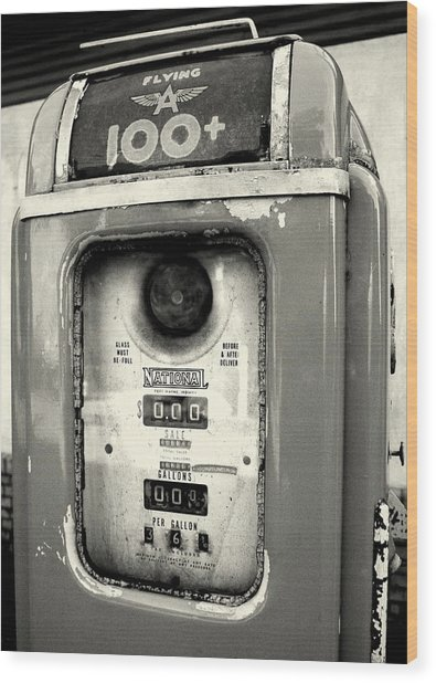 Old Gas Pump Wood Print by DazzleMePhotography