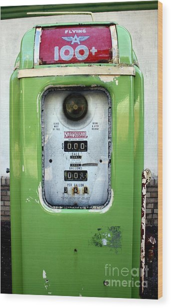 Old Gas Pump II Wood Print by DazzleMePhotography