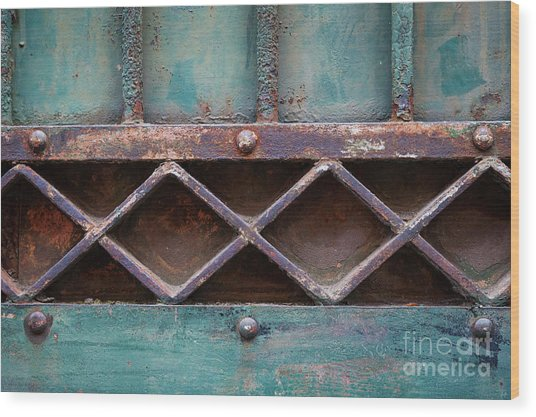 Old Gate Geometric Detail Wood Print
