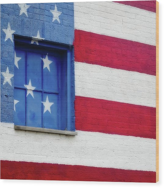 Old Glory, American Flag Mural, Street Art Wood Print