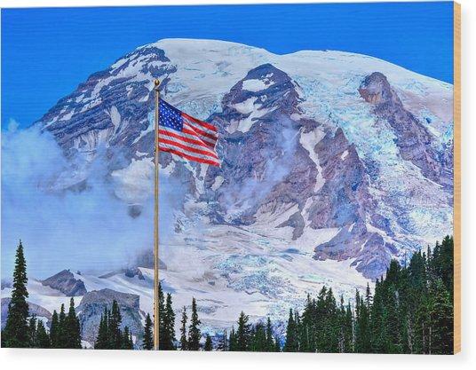 Old Glory At Mt. Rainier Wood Print
