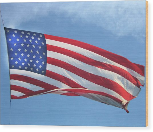 Old Glory Never Fades Wood Print