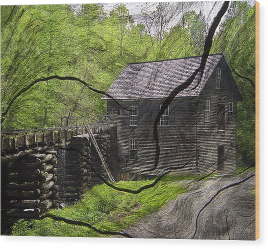 Old Grain Mill Wood Print by Michael Whitaker