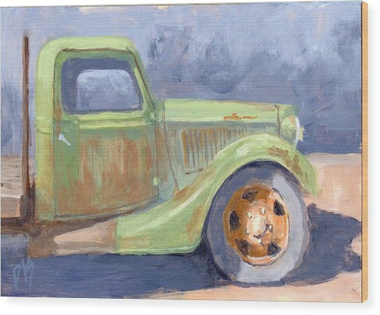 Old Green Ford Wood Print