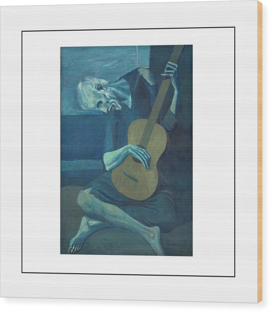 Old Guitarist Wood Print