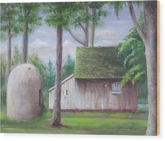 Old House And Oven Wood Print
