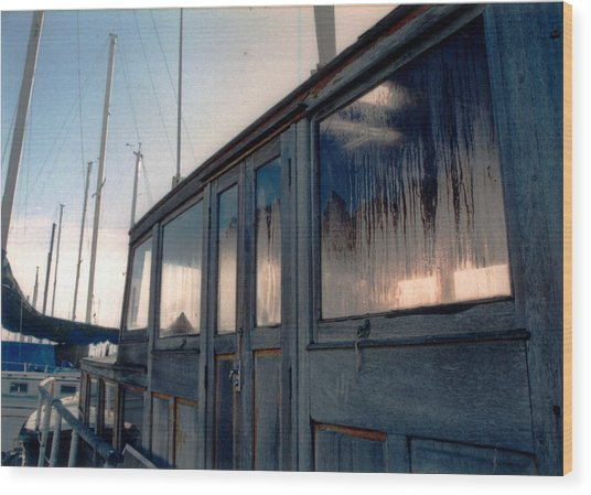 Old House Boat Wood Print