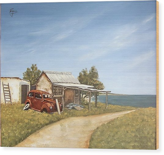 Old House By The Sea Wood Print