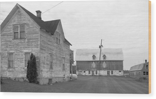 Old House With Barn On Clarks Lake Road Wood Print by Stephen Mack