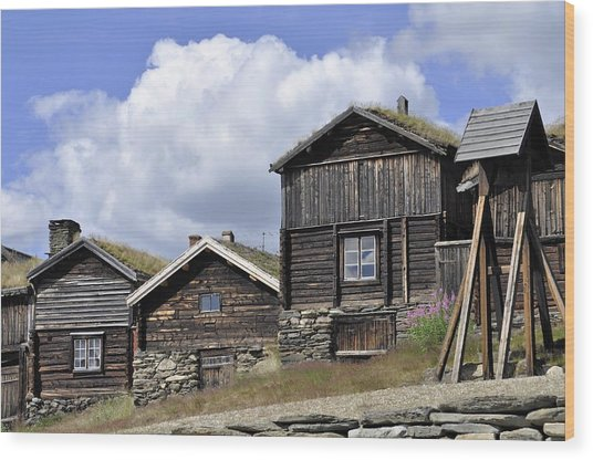 Old Houses In Roeros Wood Print