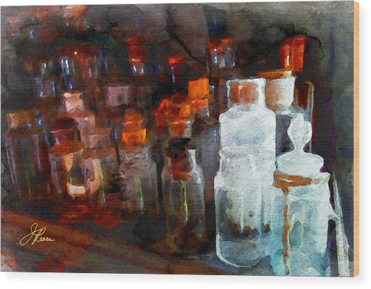 Old Jars Wood Print