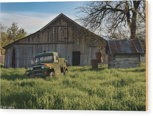 Old Jeep, Old Barn Wood Print