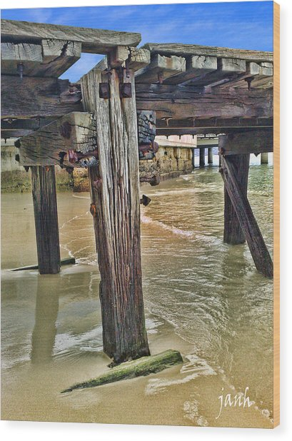 Old Jetty Wood Print by Jan Hattingh