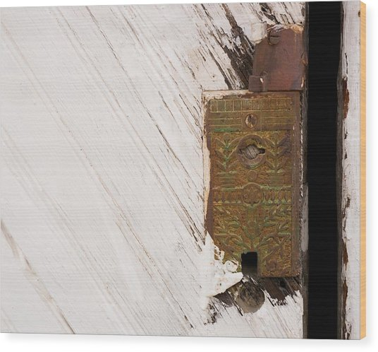 Old Lock On Garage Door Wood Print