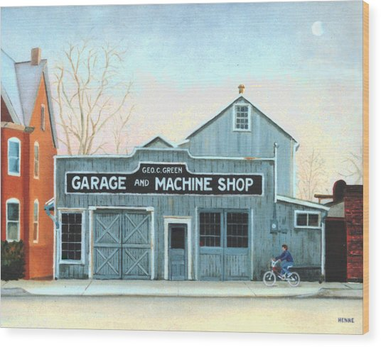 Wood Print featuring the painting Old Machine Shop by Robert Henne