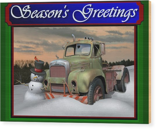 Old Mack Christmas Card Wood Print