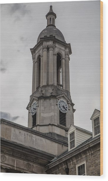 Old Main Penn State Clock  Wood Print