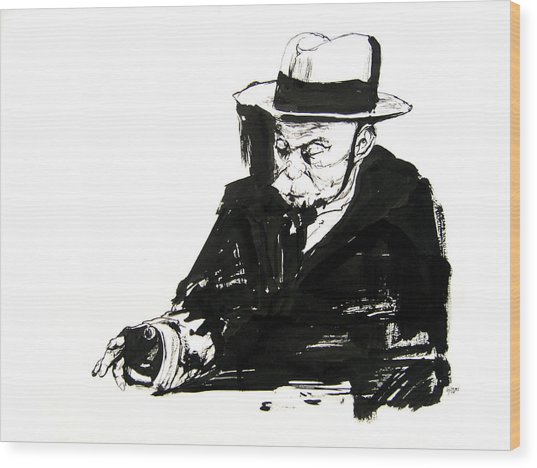 Old Man And Checkers Wood Print by Kinetik  Studio